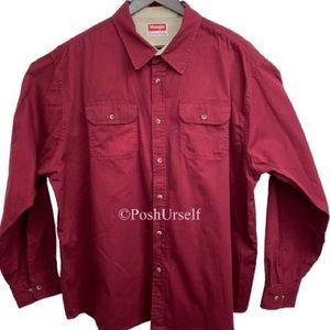 Wrangler Premium Denim Long Sleeve Shirt Red 2X